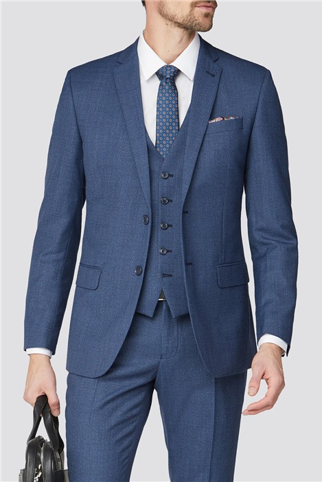 Racing Green Bright Blue Texture Tailored Fit Suit
