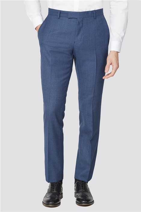 Racing Green Bright Blue Texture Tailored Fit Suit Trouser