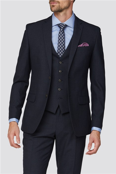 Racing Green Deep Blue Texture Tailored Fit Suit