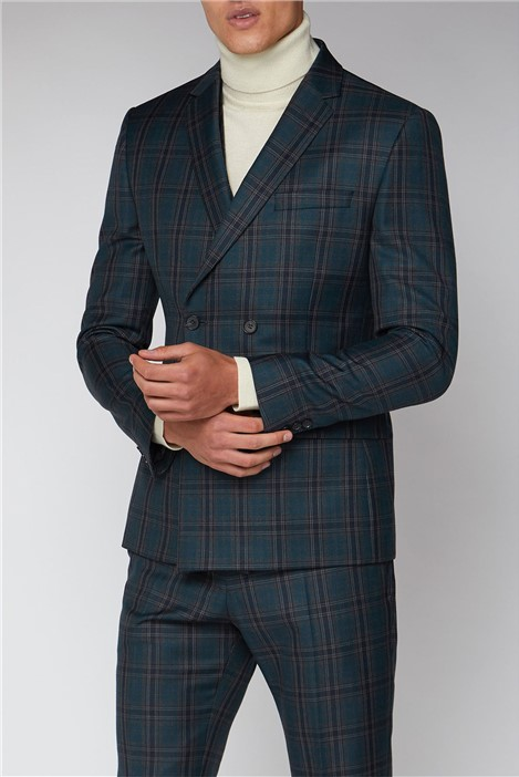 Ben Sherman Charcoal Teal Check Slim Fit Double Breasted Jacket