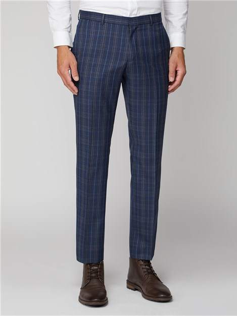 Ben Sherman Navy Bold Check Tailored Fit Suit