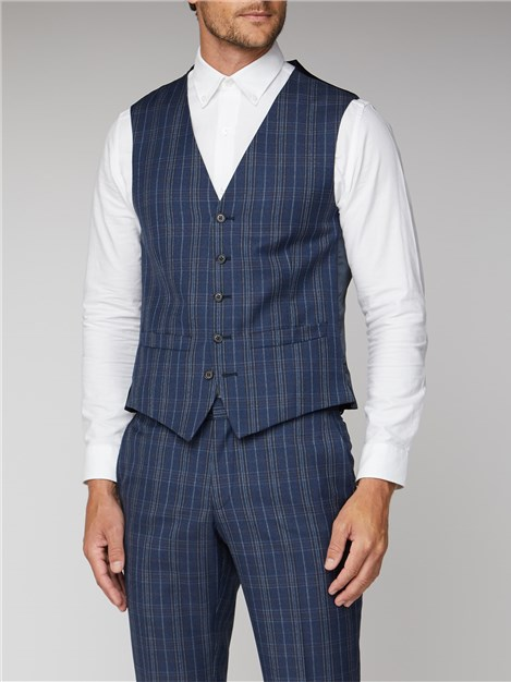 Ben Sherman Navy Bold Check Tailored Fit Waistcoat