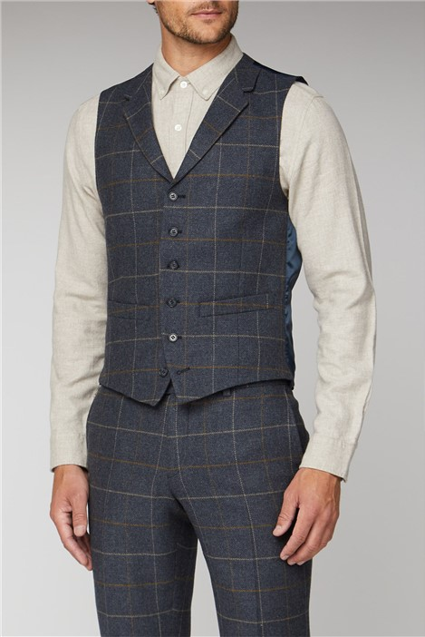 Racing Green Blue Heritage Check Tailored Fit Waistcoat