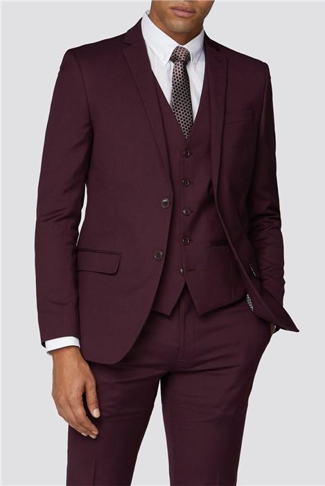 Limehaus Burgundy Plain Slim Fit Suit