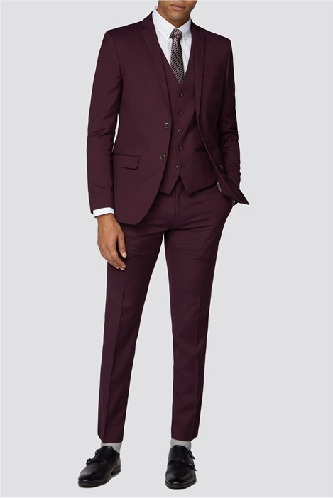 Limehaus Burgundy Plain Slim Fit Suit