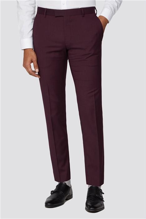 Limehaus Burgundy Plain Slim Fit Suit Trouser
