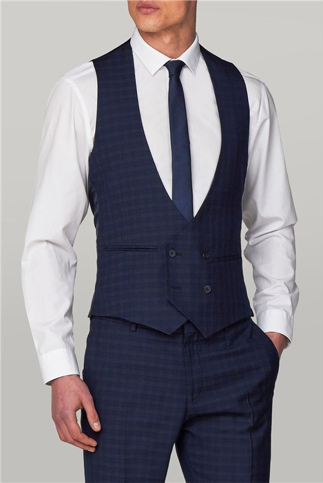 Limehaus Navy Multi Check Double Breasted Waistcoat