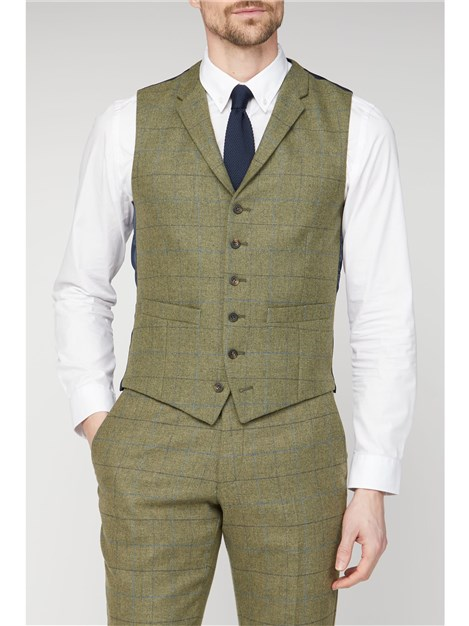 Racing Green Heritage Checked Slim Fit Waistcoat