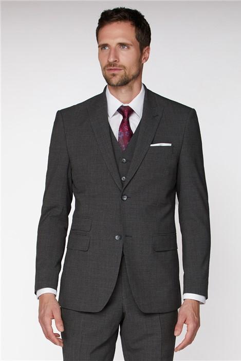 Jeff Banks Grey Marl Texture Regular Fit Travel Suit