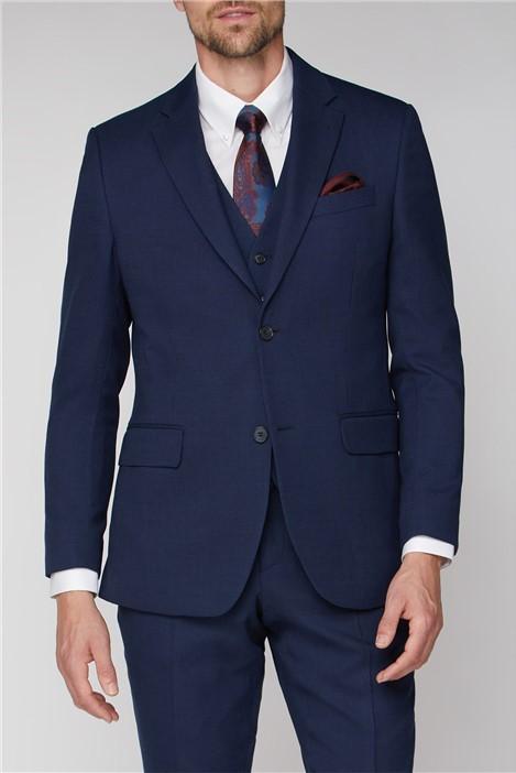 Jeff Banks Navy Hopsack Regular Fit Travel Suit Jacket