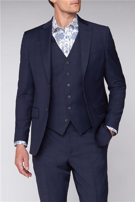 Jeff Banks Blue Windowpane Regular Fit Travel Suit