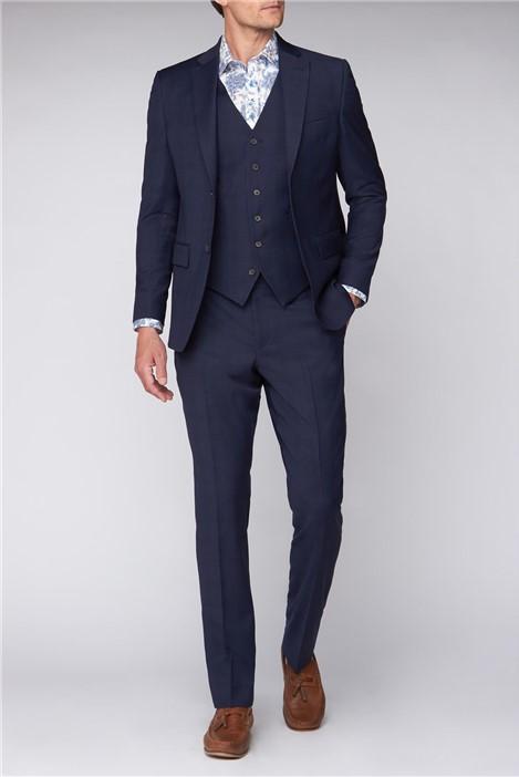 Jeff Banks Blue Windowpane Regular Fit Travel Suit Jacket