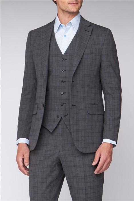 Jeff Banks Grey Green Check Regular Fit Travel Suit