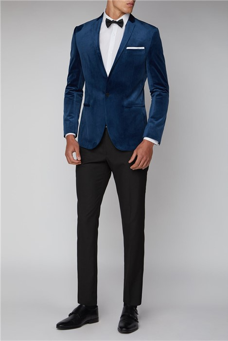 Limehaus Teal Blue Slim Fit Velvet Jacket