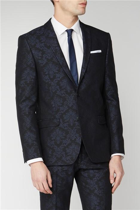 Limehaus Navy Jacquard Slim Fit Suit