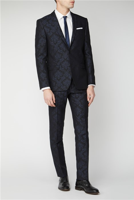 Limehaus Navy Jacquard Slim Fit Suit