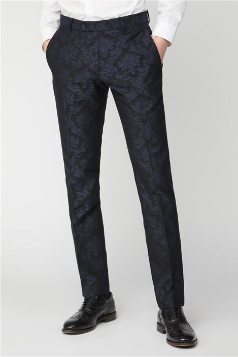 Limehaus Navy Jacquard Slim Fit Suit Trousers