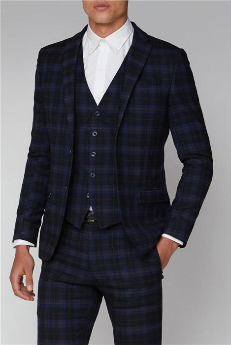 Ben Sherman Blue Mustard Check Slim Fit Suit