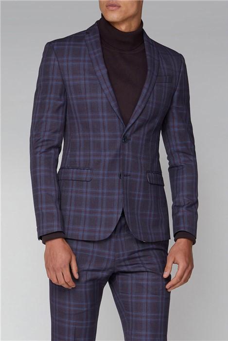 Ben Sherman Purple Check Skinny Fit Suit