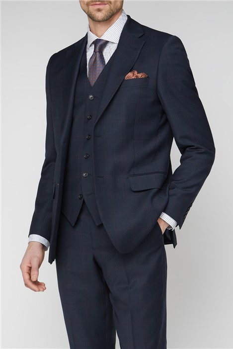 Jeff Banks Navy & Red Checked Travel Suit