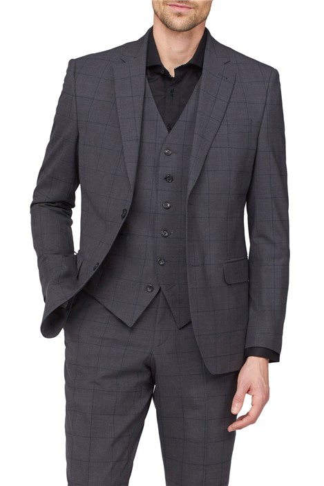 Jeff Banks Charcoal & Green Window Check Travel Suit
