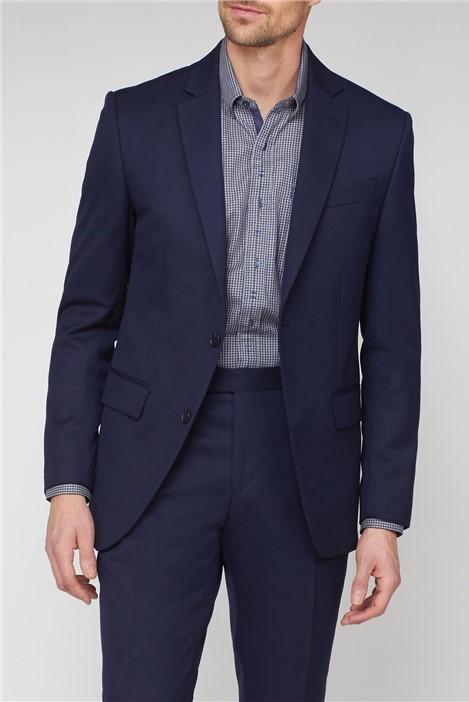 Jeff Banks Navy Jacquard Regular Fit Suit Jacket