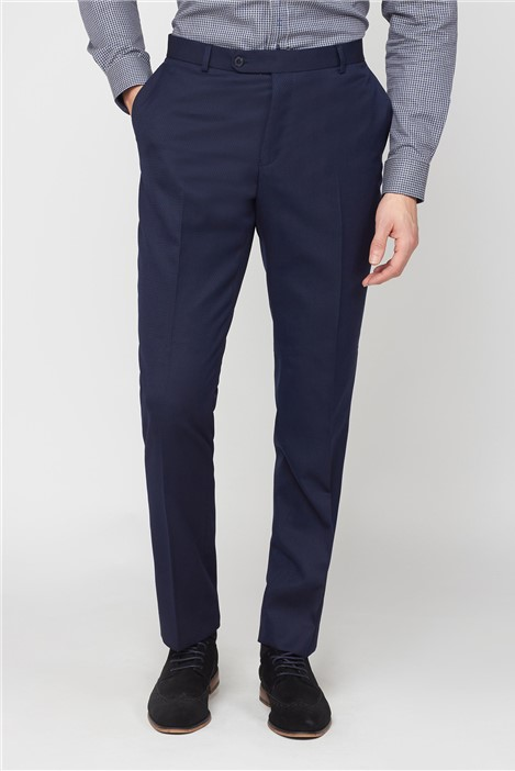 Jeff Banks Navy Jacquard Regular Fit Suit Trousers
