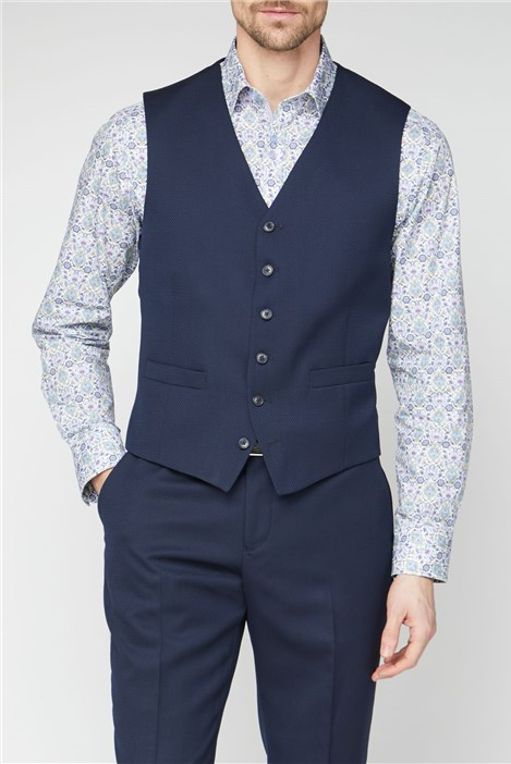 Jeff Banks Navy Jacquard Regular Fit Waistcoat