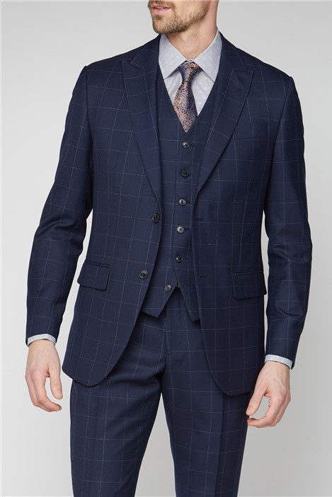 Jeff Banks Navy Boucle Windowpane Checked Suit