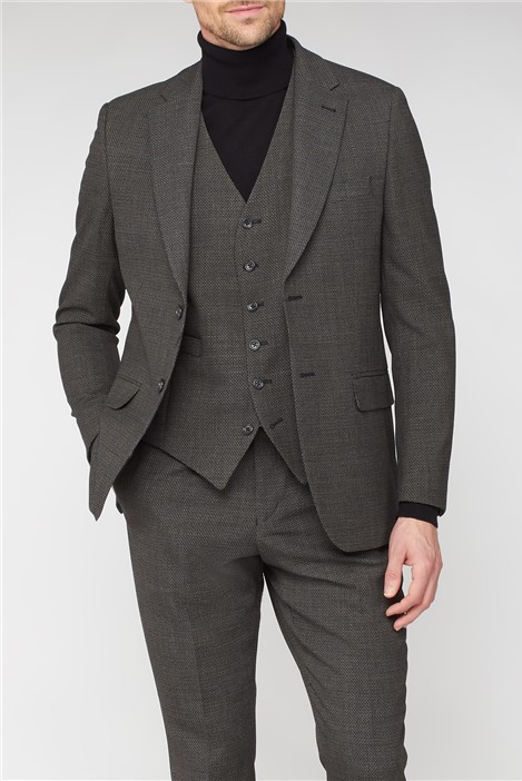 Jeff Banks Charcoal Texture Travel Suit