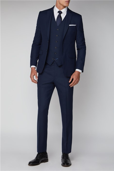 Stvdio Blue Scratch Texture Slim Fit Ivy League Suit