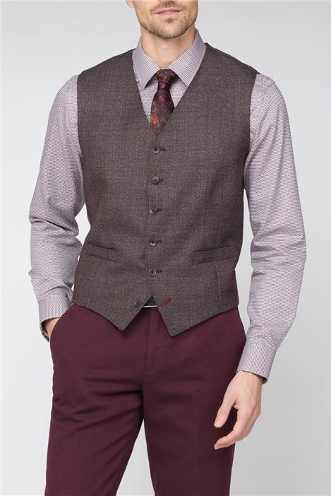 Jeff Banks Stvdio Burgundy Texture Ivy League Suit Waistcoat