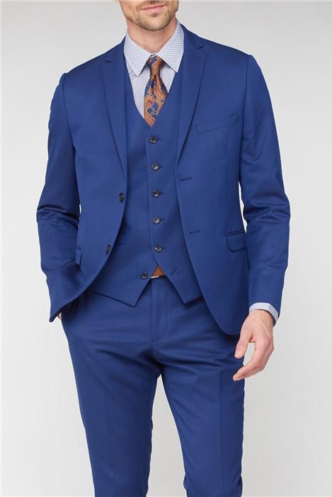 Jeff Banks Bright Blue Jaquard Super Slim Fit Brit Suit