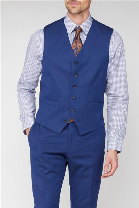 Jeff Banks Stvdio Bright Blue Jaquard Super Slim Fit Waistcoat
