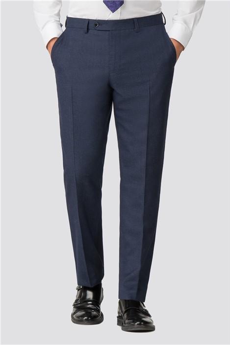Jeff Banks Blue Semi Plain Wool Blend Regular Fit Suit Trouser