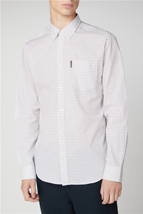 Ben Sherman Long Sleeve Contrast Spot Print Shirt