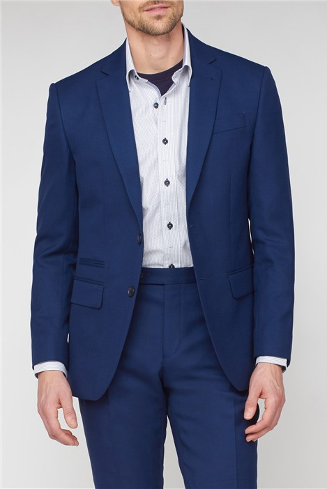 Jeff Banks Blue Textured Regular Fit Suit