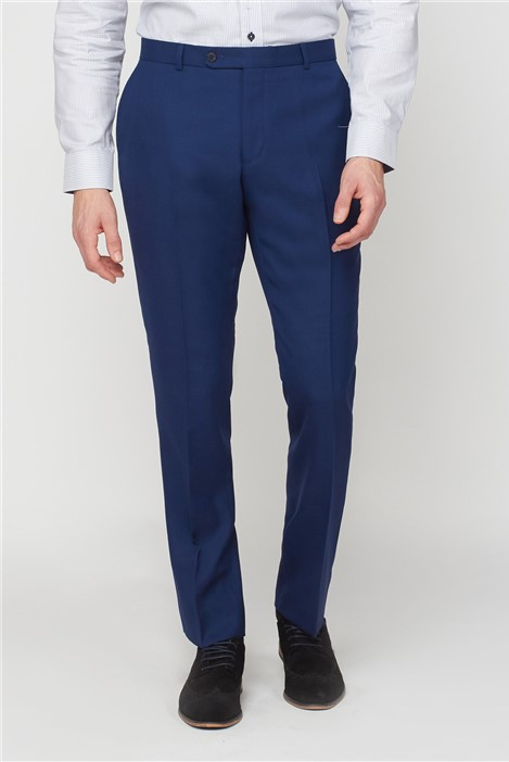 Jeff Banks Blue Textured Regular Fit Suit Trousers