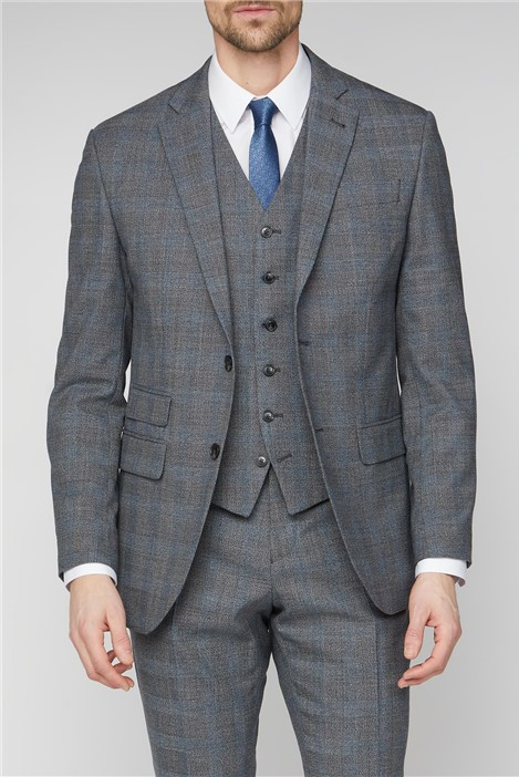 Jeff Banks Grey Jaspe Checked Suit