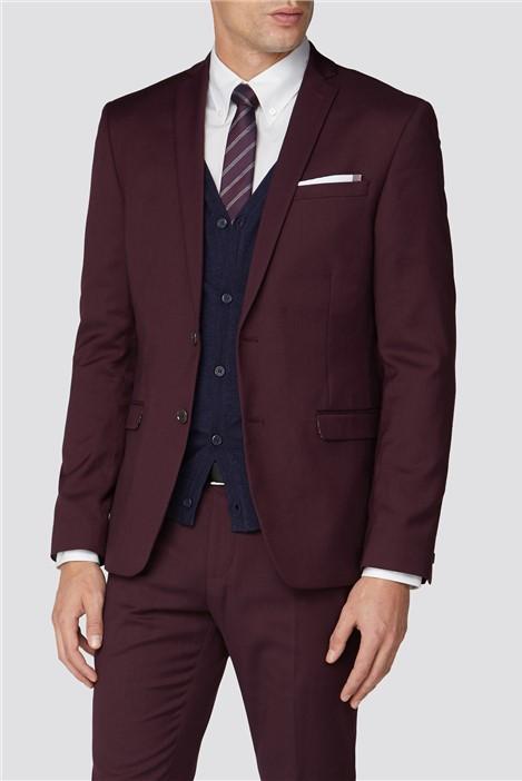 Burgundy Plain Skinny Fit Suit