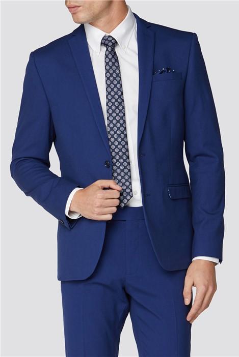 Bright Blue Plain Skinny Fit Suit