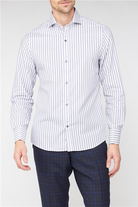 Stvdio by Jeff Banks Grey Edged Stripe Shirt