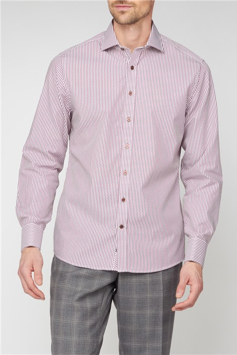 Stvdio by Jeff Banks Burgundy Dobby Stripe Shirt