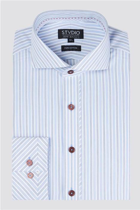 Stvdio Light Blue Alternate Stripe Shirt