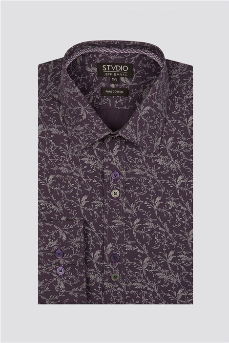 Studio Purple Vines Print Shirt
