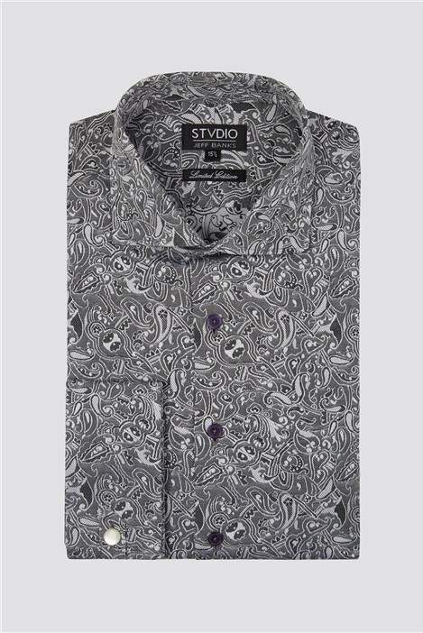 Stvdio by Jeff Banks Grey Jacquard Shirt