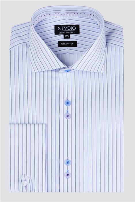 Stvdio by Jeff Banks Lilac End on End Stripe Shirt
