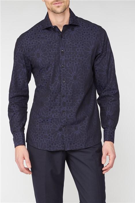 Jeff Banks Black Large Floral Jacquard Shirt