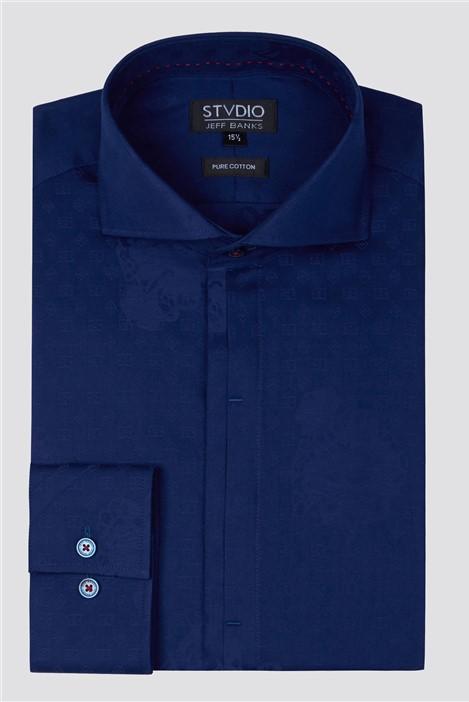 Jeff Banks Stvdio Navy Jacquard Shirt