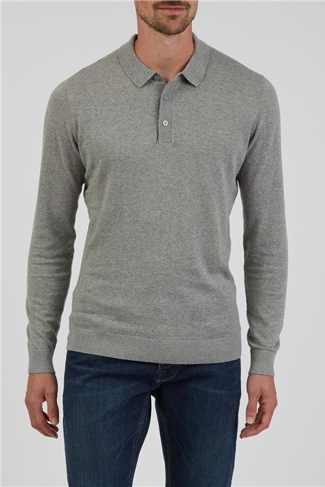 Jeff Banks Grey Long Sleeve Polo